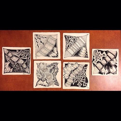 "Lovely student tiles from this evening's ""Beyond Basics: Tanglenhancers"" class in Windsor, Ontario. #zentangle #tangle #tangling #czt #laurelreganczt #art #classes #artclass #artclasses #draw #drawing #windsor #ontario #yqg #tanglenhancer #tanglenhancers | by Laurel Storey, CZT"