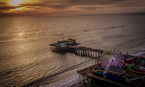 drone dji phantom4 santa monica pier sunset seascape losangeles clouds aerial
