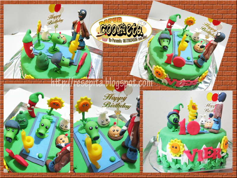 Super Plant Vs Zombie Birthday Cake Ita Paramita Flickr Funny Birthday Cards Online Overcheapnameinfo