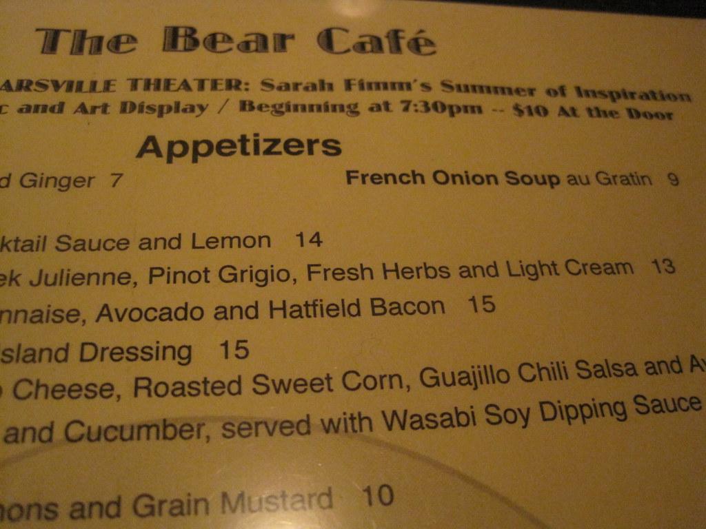 IMG_4916   menu at the Bear Cafe in Woodstock   Dan Fimm