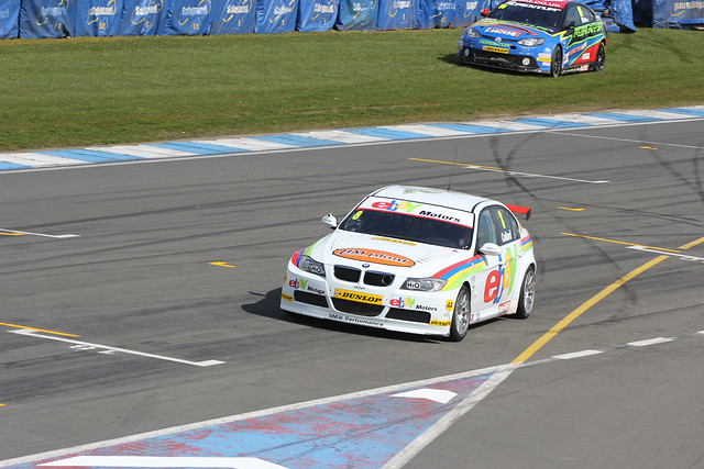 Rob Collard and Jason Plato after a collision in BTCC at Donington Park in April 2012