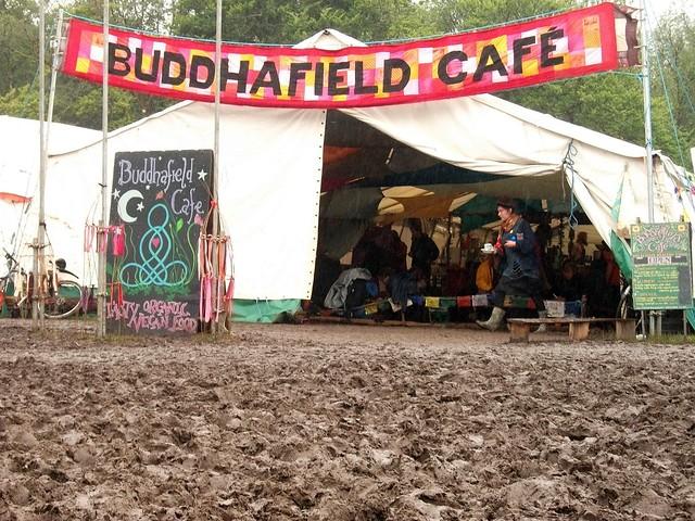 Buddhafield cafe across the mud 2 at Buddhafield Festival 2012