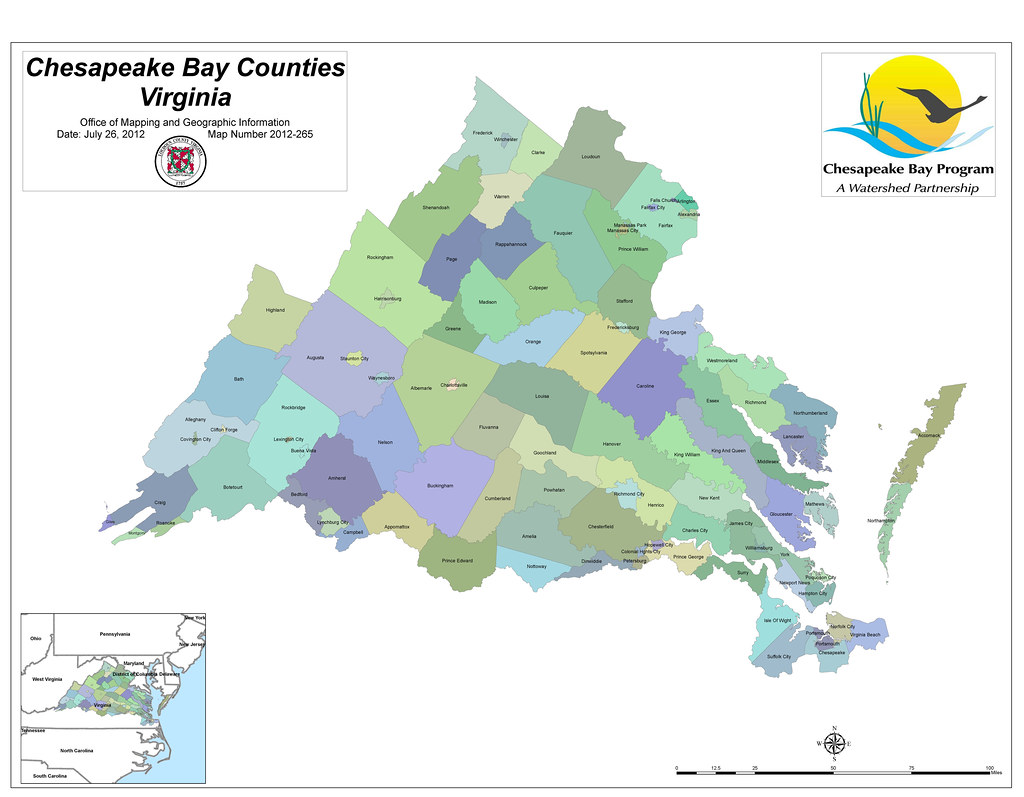 Virginia Counties in the Chesapeake Bay Watershed | Map Numb ...