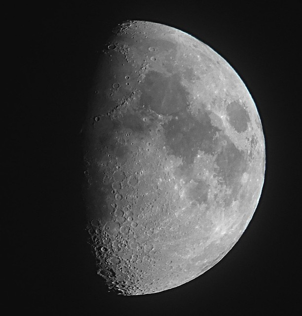 Waxing Gibbous, 67% of the Moon is Illuminated taken on a Hazy and Cloudy August 25, 2012 with a FUJIFILM X-S1 using a 1.7x Teleconversion Lens DSCF6301