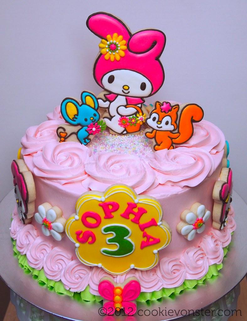 Fabulous My Melody Custom Birthday Cake Vanilla Buttermilk Cake Ch Flickr Funny Birthday Cards Online Unhofree Goldxyz