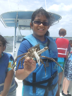 Trusha has a large spider crab. | by AdventureMIke.com