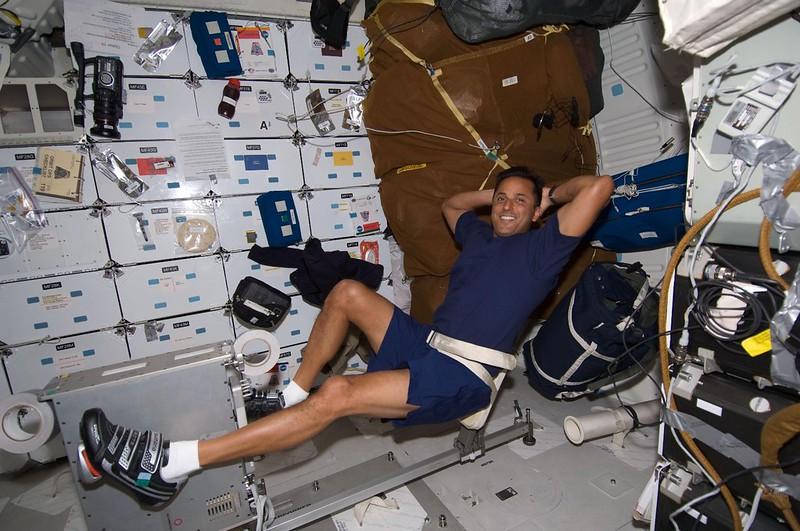 Joe Acaba exercises on the Shuttle