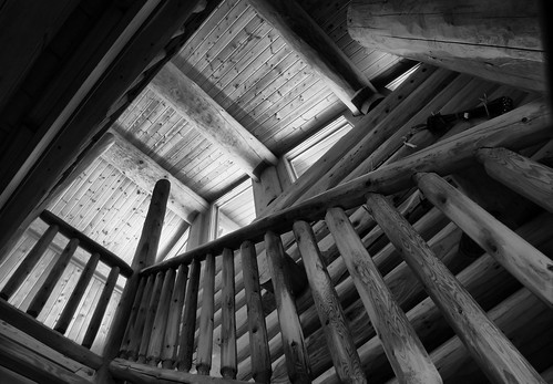 blackandwhite monochrome architecture blackwhite cabin michigan may lodge logcabin staircase grayscale banister upnorth walhalla whitetail 2012 balustrade northernmichigan baluster criticismwelcome barothylodge barothy juannonly