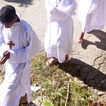 The front of the procession to the church on Palm Sunday
