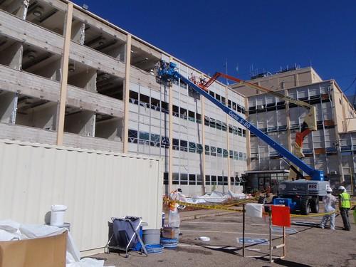 Administration Building exterior demolition