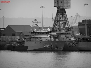 Pollux P902 Offshore Patrol Vessel OPV And Lobelia M921 Tripartite Class Minehunter Belgian Navy Portsmouth Harbour UK | by CreatureStream