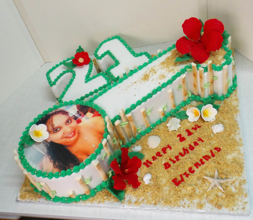Astounding 21St Key Shaped And Hawaii Themed Birthday Cake Willi Probst Funny Birthday Cards Online Overcheapnameinfo