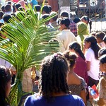 People flow into the church on Palm Sunday, Maubisse, Timor Leste
