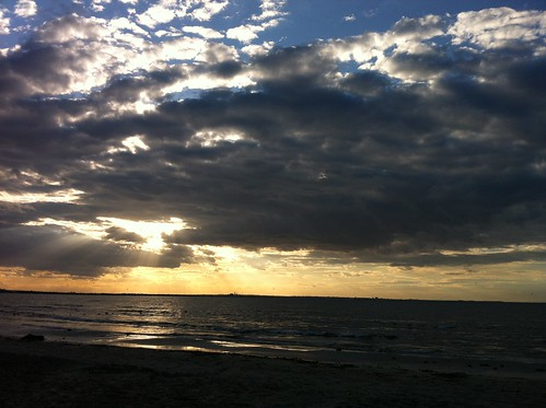 sunset sea beach clouds monastir