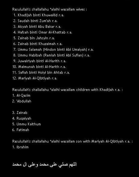 Wives and children of the prophet Muhammad shallallahu 'al