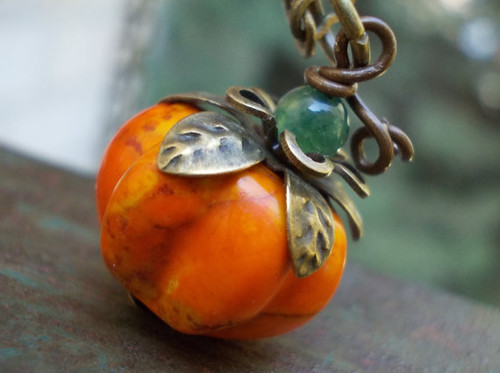 Organic Pumpkin necklace, carved howlite stone bead natural moss agate brass, big berry fruit turquoise necklace, orange brown rustic | by KarmeliDesigns.etsy.com