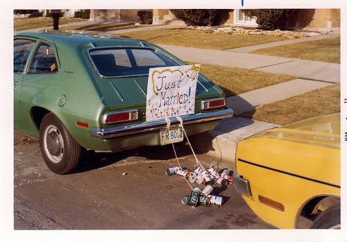 Sammy our Ford Pinto bearing wedding sign