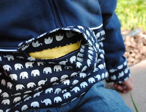 elephant hoodie secret pocket