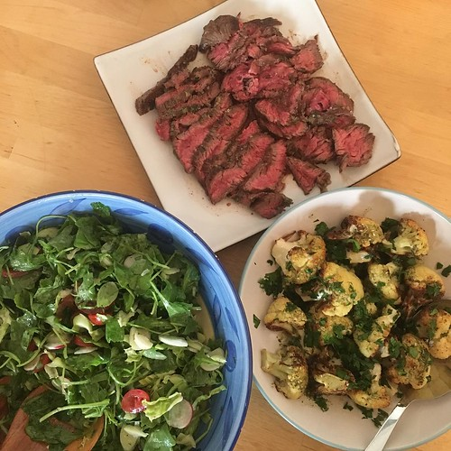 Bavette with salad and charred cauliflower. | by adactio