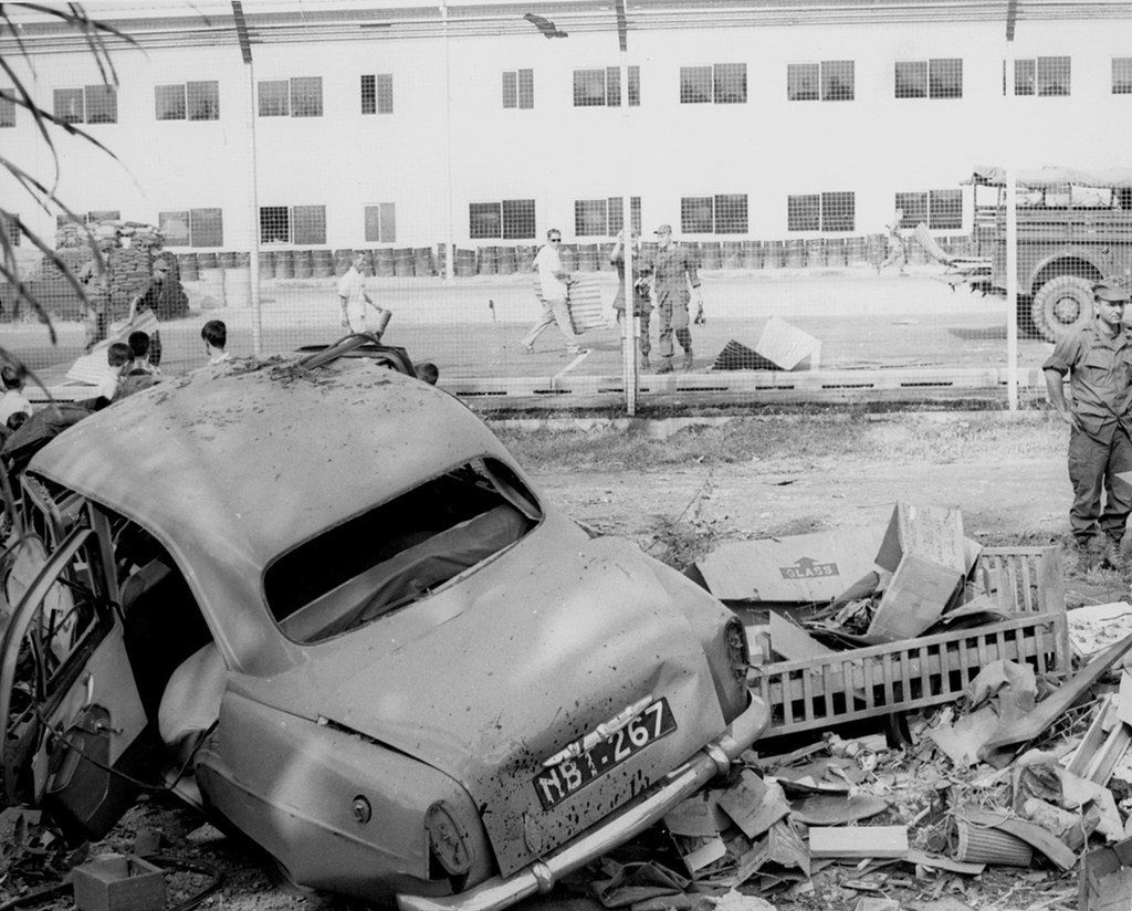 A Vietnamese house and car, across the fence from the MACV Headquarters, 18 Feb. 1968