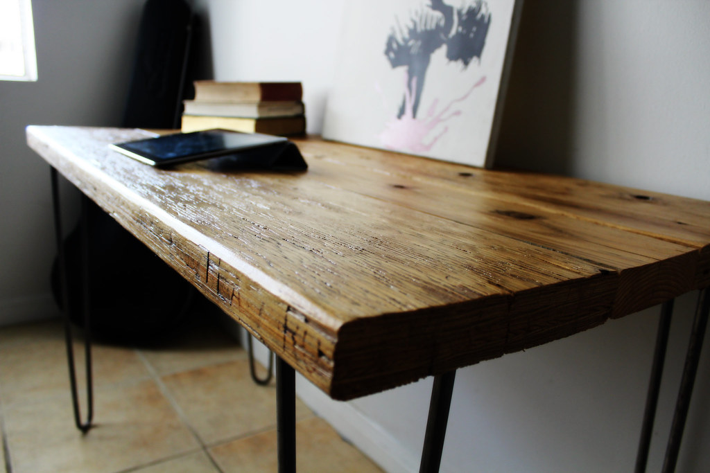 brand new 77aa3 65194 natural reclaimed wood desk on raw steel hairpin legs 3/7 ...