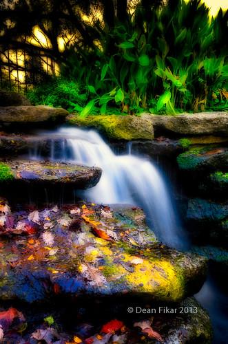 waterfall texas unitedstates fallcolors fortworth fortworthbotanicalgardens