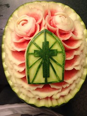 Funeral watermelon carving