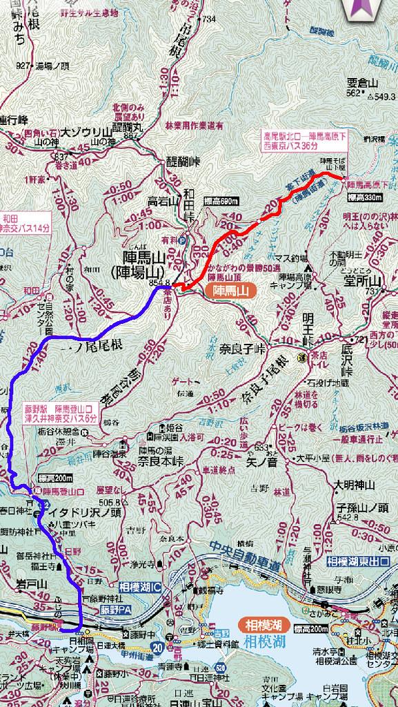 陣馬山地図