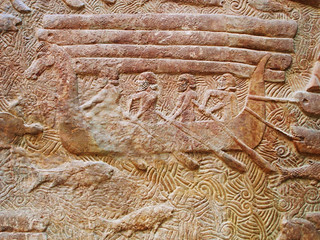 Etruscans (ancient Italians) with dragon head ships. Bronze Age - Transport of Lebanese cedar in dragon ship. at the king Sargon II palace at Dur Sharrukin in Assyria c. 713–716 BC. See Video | by saamiblog
