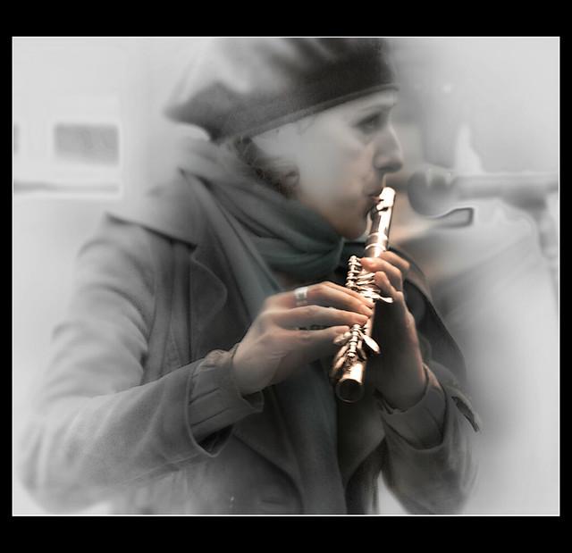 Artisti di strada: flautista