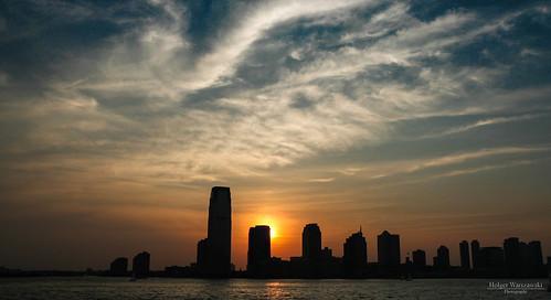 sunset sky newyork skyline clouds skyscraper newjersey sonnenuntergang manhattan himmel wolken hochhaus hochhäuser