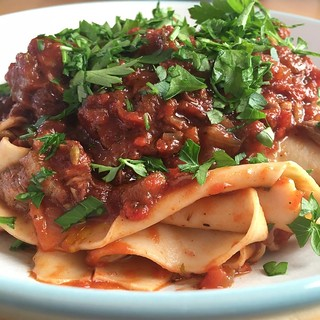 Homemade pappardelle with pig cheek ragu. | by adactio