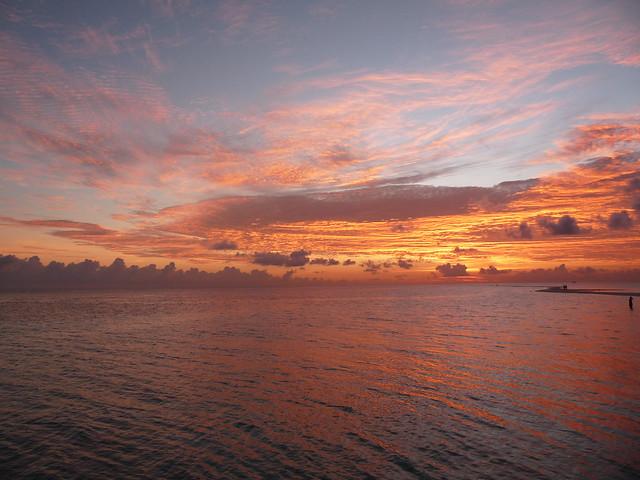Maldives: a burning sunset