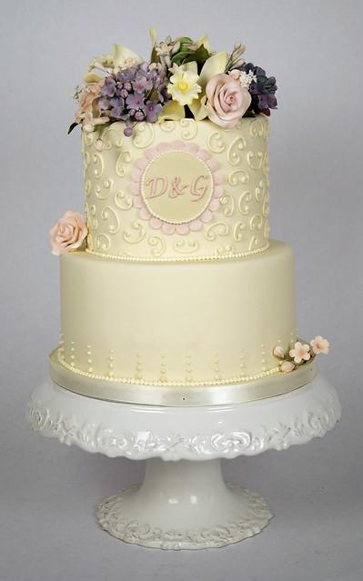 W9052 - pastel floral wedding cake toronto