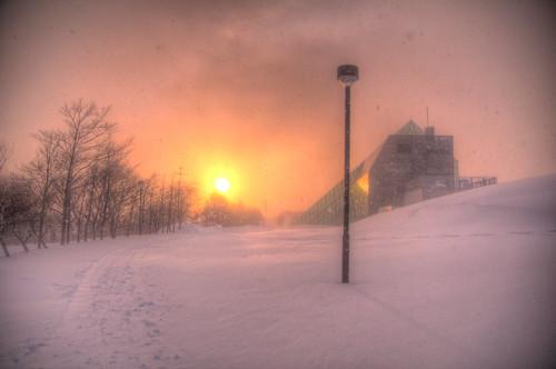 park winter sunset snow japan architecture landscape sapporo hdr moerenuma photomatix