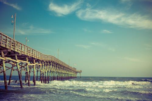 sun beach pier waves northcarolina oakislandpier