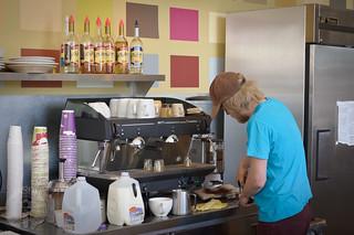 Triple skinny sixteen ounce latte. Hurry.
