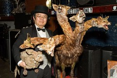 "Seara (sea rabbit) and Dr. Takeshi Yamada at the Carnivorous Nights: Taxidermy Contest at Bell House in Brooklyn, NY on April 6, 2014. He won the First Prize with his ""Five-headed Monster from the Hell"" and ""Giant Space Alien Skull"".  Village Voice, 1 966"