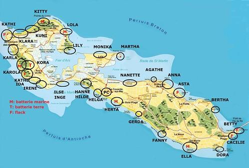 carte ile de ré, positions atlantikwall, mur de l'atlantique