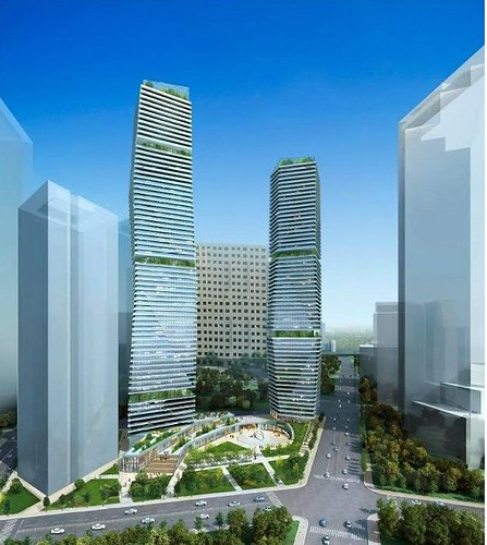 Downtown Dallas Pacific Plaza proposal, 70 story and 60 story residential towers, by Sarimsakci | by skys the limit2