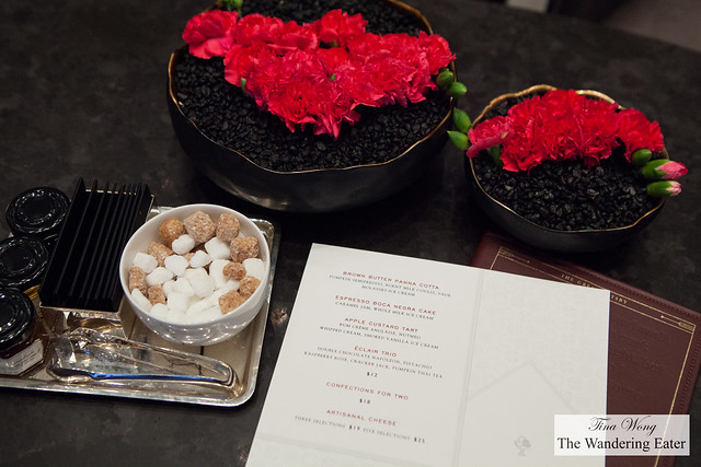 The Afternoon Delights menu and table setting
