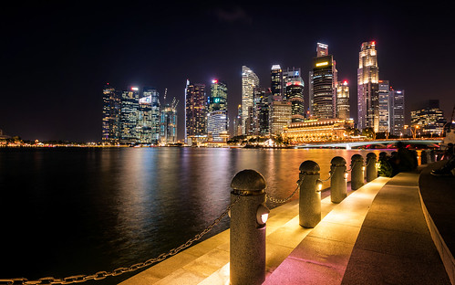 water architecture night stairs reflections lights singapore cityscape outdoor perspective sg singapur marinabay
