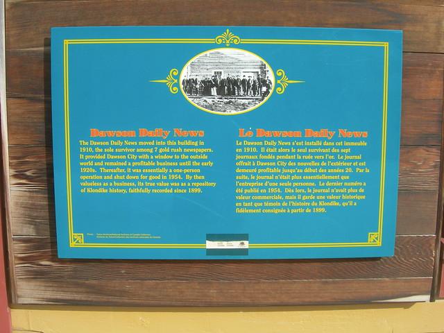 Dawson Daily News Plaque