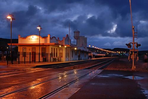 railroad santafe bnsf station dawn kingman arizona d200 rain day arizonapassages nationalregisterofhistoricplaces kingmancommercialhistoricdistrict 86001153