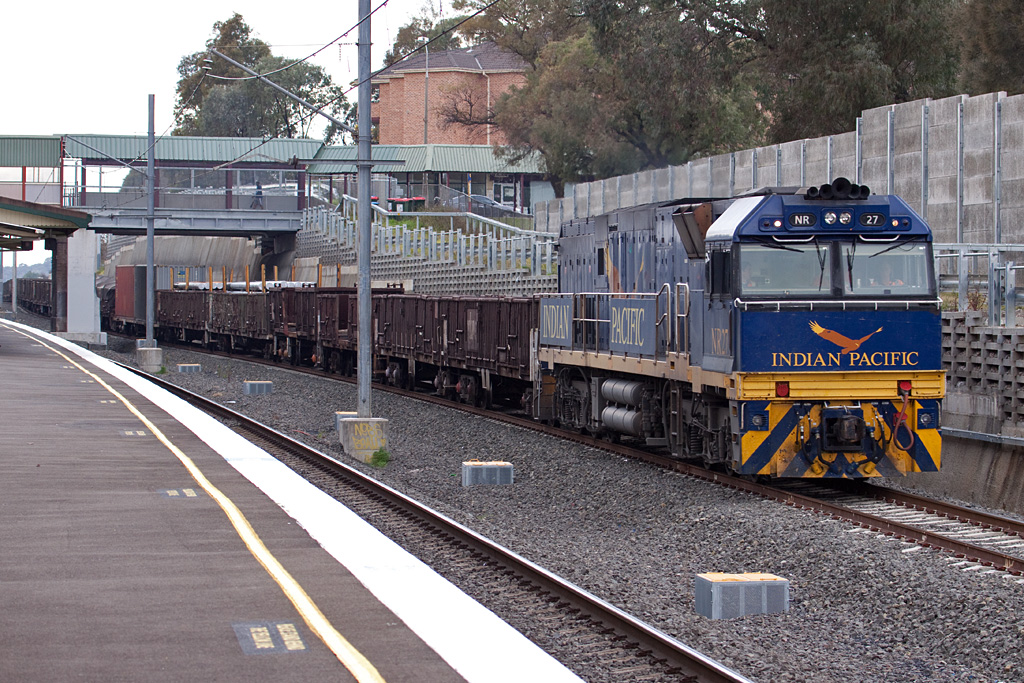 NR27 leads empty steel train 5NY3 south through Chester Hill by Peter Reading