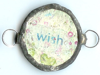 collage soldered heart tag charm wish back