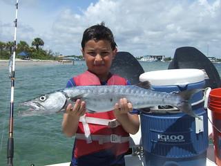 Owen catches a nice barracuda.