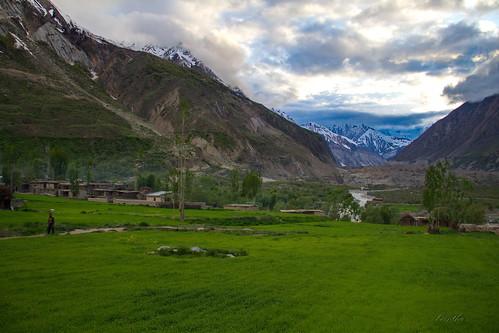 Arandu Village ,with chogolungma glacier in the back drop ,karakorams
