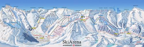 Sedrun / SkiArena - mapa sjezdovek