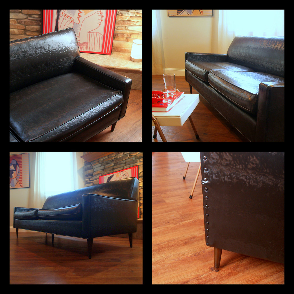 VINTAGE MIDCENTURY MODERN Sofa Fabulous Black Faux Leather… | Flickr
